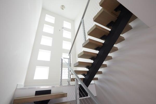 Viewrail FLIGHT Floating Stairs Switchback Monostringer