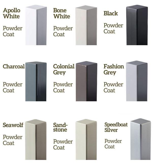 powder coat samples on metal posts 3 by 3