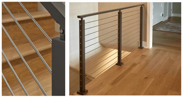 Viewrail Rod Railing w/ Black Powder Coated Posts and Handrail